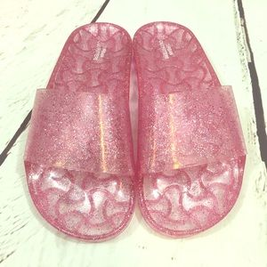 Urban outfitters pink jelly slides